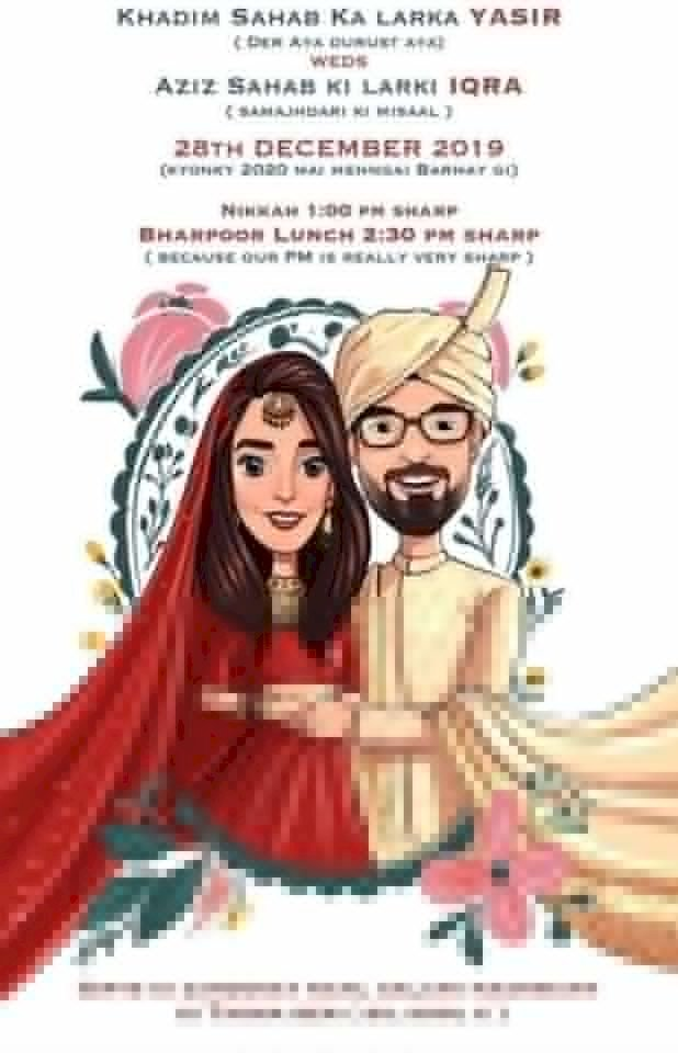 The Wittiest & Smartest Wedding Card Of Iqra Aziz And Yasir Hussain Is Here!
