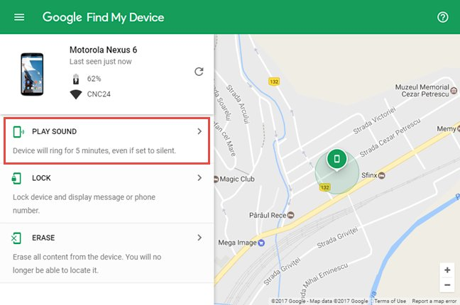 Find lost mobile using Google